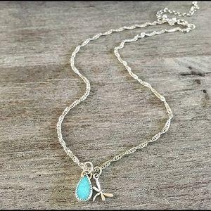 Jewelry - Australian opal dragonfly charm necklace jewelry